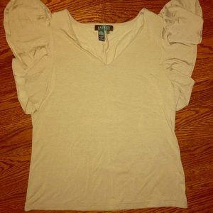 NWOT!! Ralph Lauren flutter sleeve blouse.